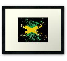 Jamaica Flag Ink Splatter Framed Print