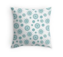simple  doodle flower blue pattern Throw Pillow