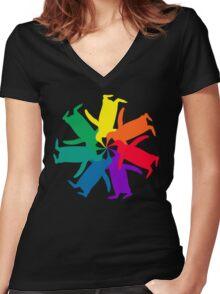 Penguin Color Wheel Women's Fitted V-Neck T-Shirt