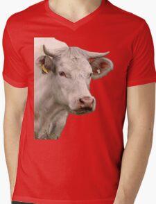 Big white cow Mens V-Neck T-Shirt