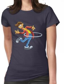 Cartoon boy playing with ring Womens Fitted T-Shirt