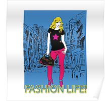Girl fashion graphic drawing on city background Poster