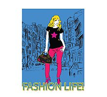 Girl fashion graphic drawing on city background Photographic Print