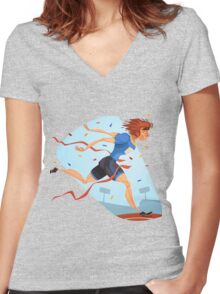 Funny cartoon athletics sporting design Women's Fitted V-Neck T-Shirt