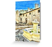 L'Aquila: collapsed church and fountain Greeting Card