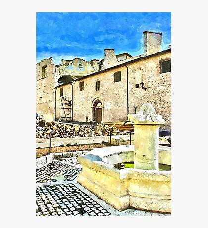 L'Aquila: collapsed church and fountain Photographic Print