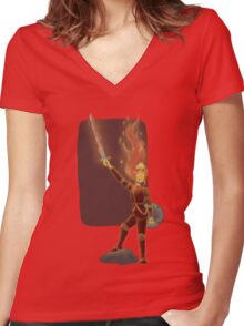 Phoebe the Flame King Women's Fitted V-Neck T-Shirt