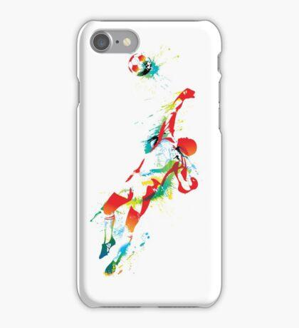 Colorful splash soccer goal keeper iPhone Case/Skin