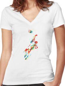 Colorful splash soccer goal keeper Women's Fitted V-Neck T-Shirt