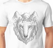 Beautiful hand wolf and wood Unisex T-Shirt
