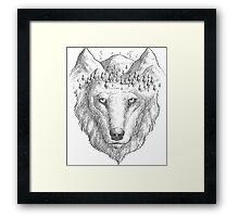 Beautiful hand wolf and wood Framed Print