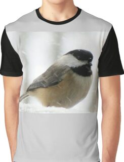 Chickadee In Snowstorm Graphic T-Shirt