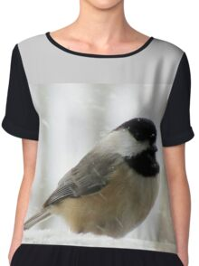 Chickadee In Snowstorm Chiffon Top