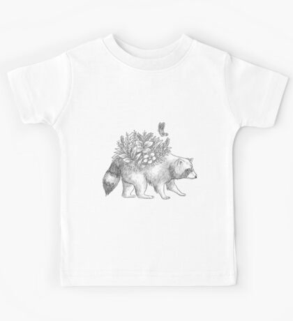 Cute raccoon with flowers and butterfly Kids Tee