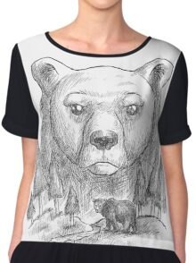 Bear and forest Chiffon Top