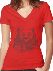 Bear and forest Women's Fitted V-Neck T-Shirt
