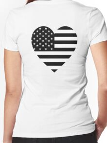American Flag, BLACK Heart, Stars & Stripes, Pure & Simple, America, USA Women's Fitted V-Neck T-Shirt