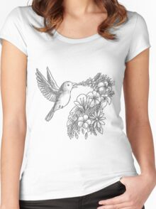 Lovely bird with flowers Women's Fitted Scoop T-Shirt