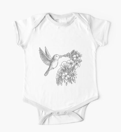 Lovely bird with flowers One Piece - Short Sleeve