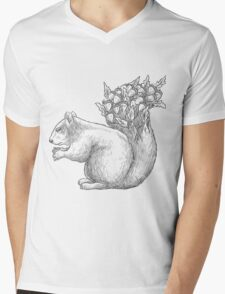 Squirrel with acorns in the tail Mens V-Neck T-Shirt
