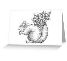 Squirrel with acorns in the tail Greeting Card