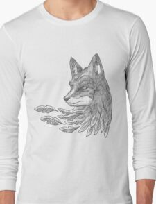 Wolf with leaves Long Sleeve T-Shirt