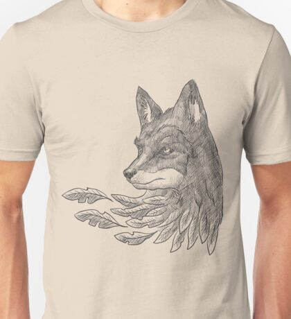 Wolf with leaves Unisex T-Shirt
