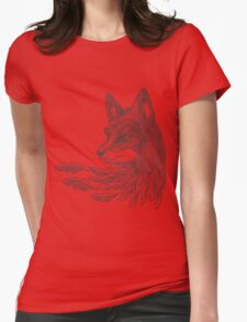Wolf with leaves Womens Fitted T-Shirt