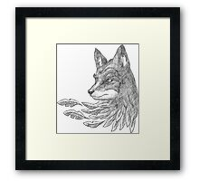 Wolf with leaves Framed Print