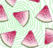 Summery Cute Watercolor Watermelons on Green Swirl Sticker