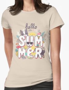 Hello Summer Womens Fitted T-Shirt