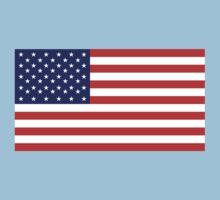 American Flag, America, Stars & Stripes, USA, Americana, Pure & Simple, on BLACK One Piece - Short Sleeve