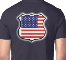 American Shield, America, American, Stars & Stripes, USA, Americana, Pure & Simple, on BLACK Unisex T-Shirt