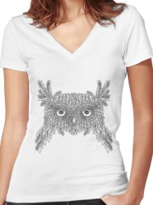 Owl made up of leaves Women's Fitted V-Neck T-Shirt
