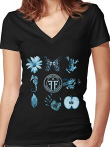 Fringe Glyphs with Division symbol Women's Fitted V-Neck T-Shirt