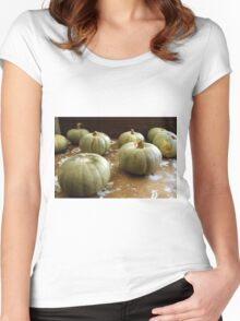 On the shelf: sad pumpkins Women's Fitted Scoop T-Shirt