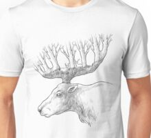 Deer with trees in the horns Unisex T-Shirt