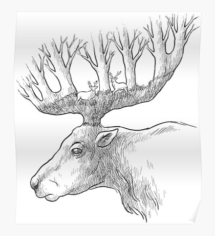 Deer with trees in the horns Poster