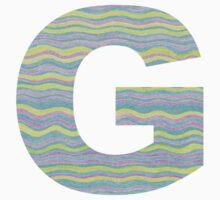 Letter G Neon Wavy Stripe Pattern Monogram Initial Baby Tee