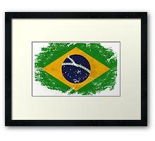 Brazil Vintage Flag Framed Print