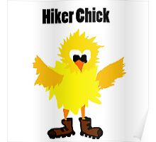 Cool Funny Hiker Chick Cartoon Poster