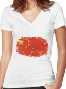China vintage flag Women's Fitted V-Neck T-Shirt