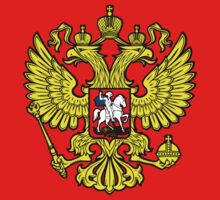 RUSSIA, RUSSIAN, Coat of Arms of the Russian Federation, ON red One Piece - Short Sleeve