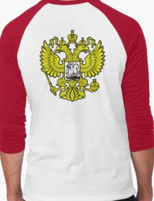 RUSSIA, RUSSIAN, Coat of Arms of the Russian Federation, ON red Men's Baseball ¾ T-Shirt
