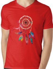 Bohemian Dreamcatcher in Vibrant Watercolor Paint Mens V-Neck T-Shirt