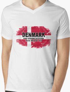Denmark vintage flag Mens V-Neck T-Shirt