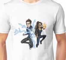 Superhero Characters Electric Boy & Pyro Girl Unisex T-Shirt