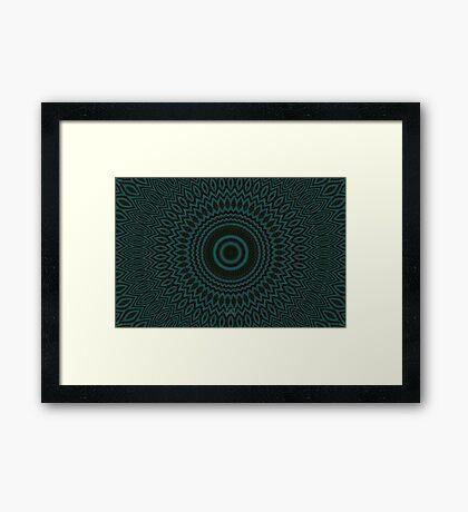 Mandala Fractal in Teal Study 04 Framed Print