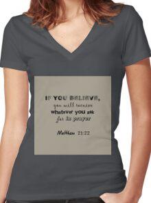 Matthew 21:22 Light Grey Women's Fitted V-Neck T-Shirt