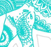 Patterned Elephant - Teal Sticker